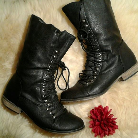 Breckelles Black Combat Boots
